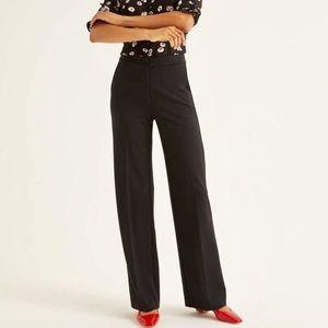 Boden Black High Waist Wide Leg  Side Zip Pant